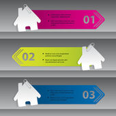 Infographic design with house labels — Stock Vector