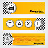 Cool taxi company banner set with metallic elements — Stock Vector