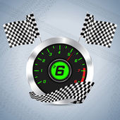 Rev counter with checkered flag — Vetorial Stock