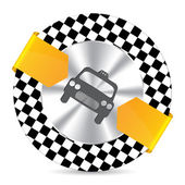 Metallic taxi badge with checkered background — Stock Vector