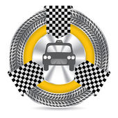 Metallic taxi badge design with tire tread — Stockvector