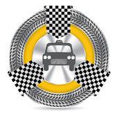 Metallic taxi badge design with tire tread — Stock Vector