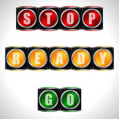Traffic lights with instructions — Stock Vector