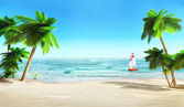 Tropical beach and yacht. — Stock Photo