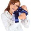 Young woman with gift — Stock Photo #2046237