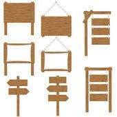 Wooden boards signs vector illustration — Stock Vector