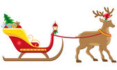 Christmassanta sleigh with reindeer vector illustration — Stock Vector