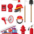Ange ikoner i firefighting utrustning vektor illustration — Stockvektor
