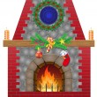 Fireplace with christmas decorations vector illustration — Stock Vector