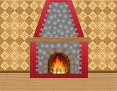 Fireplace in the room — Stock Vector