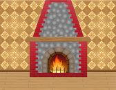 暖炉ルーム — ストックベクタ