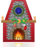 Chimenea con decoraciones de navidad vector illustration — Vector de stock