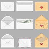 Set pictogrammen papieren enveloppen vectorillustratie — Stockvector