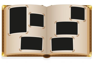 Old open photo album with blank photos vector illustration