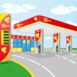 Stock Vector: Car petrol station