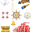 Set of sea antique icons vector illustration - Stock Vector