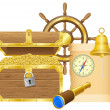 Antique treasure chest vector illustration — Stock Vector