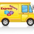 Car express delivery of mail and parcels illustration — Stock Photo