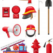 Set icons of firefighting equipment illustration — Stock Photo