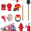 Set icons of firefighting equipment illustration - Stock Photo