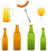 Beer bottle glass and sausage illustration — Stock Photo