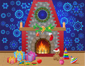 Fireplace room with christmas gifts and decorations — Stock Photo