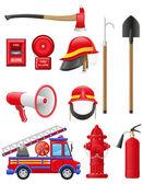 Set icons of firefighting equipment illustration — Stock Photo