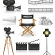 Stock Vector: Set icons cinematography cinemand movie vector illustration