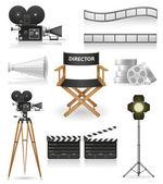Nastavení ikony kinematografie filmu a filmové vektorové ilustrace — Stock vektor