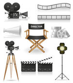 Set icons cinematography cinema and movie vector illustration — Stok Vektör