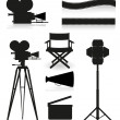 Set icons silhouette cinematography cinema and movie vector illu - Imagen vectorial