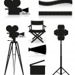 Stock Vector: Set icons silhouette cinematography cinemand movie vector illu