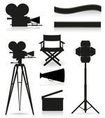 Set icons silhouette cinematography cinema and movie vector illu — Stock Vector