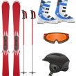 Stock Vector: Ski equipment icon set vector illustration