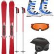 Ski equipment icon set vector illustration — Stock Vector