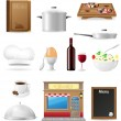Set kitchen icons for restaurant cooking vector illustration — Stock Vector