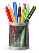 Set icons pen and pencil vector illustration — Stok Vektör