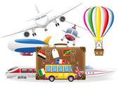 Starý kufr pro cestování a dopravy pro cestovní vektor špatně — ストックベクタ