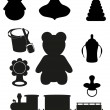 Icon of toys and accessories for babies and children black silho - Stock Vector