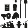 Stock Vector: Set icons of firefighting equipment black silhouette vector illu