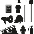 set icons of firefighting equipment black silhouette vector illu — Stock Vector