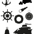 Set of sea antique icons vector illustration black silhouette — Stock Vector #18721889