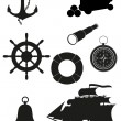 Set of sea antique icons vector illustration black silhouette - Stock Vector