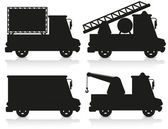 Auto pictogrammenset zwart silhouet vectorillustratie — Stockvector