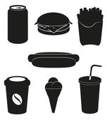 Set icons of fast food black silhouette vector illustration — Stock Vector