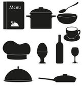 Set kitchen icons for restaurant cooking vector illustration bla — Stock Vector