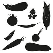 Set of icons vegetables vector illustration black silhouette — Stock Vector