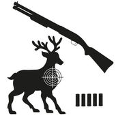 Shotgun and aim on a deer black silhouette vector illustration — Stock Vector