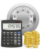 Kalkylator säker och guld mynt begreppet vektor illustration — Stockvektor