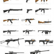 Weapon and gun set collection icons vector illustration — Vector de stock